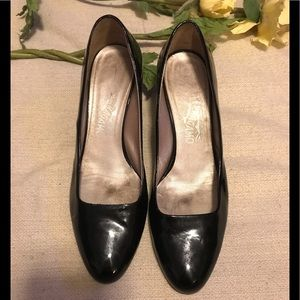 Ferragamo black patent mini-heels